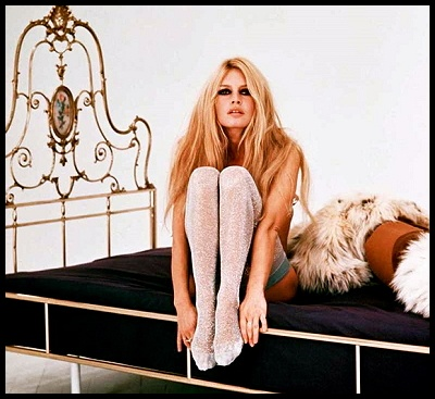 Brigitte Bardot in sparkle tights.
