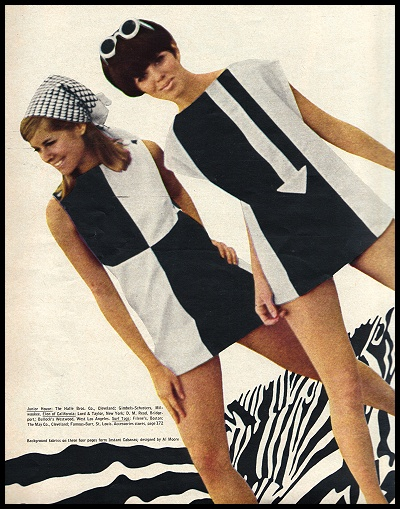 Black & white mod dresses, featured in a 60s Seventeen magazine.