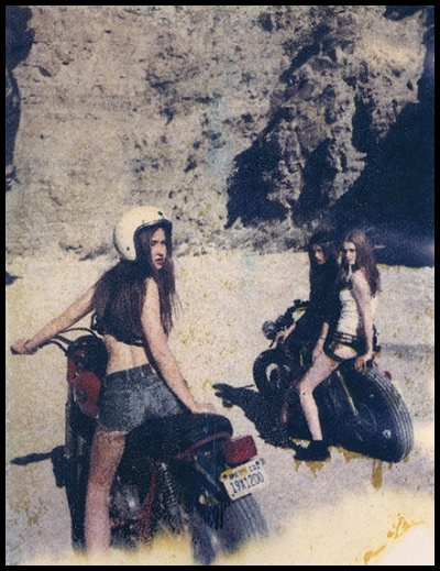 Young biker girls